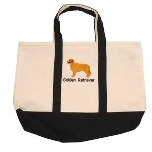 Golden Retriever Embroidered Canvas Tote Bag